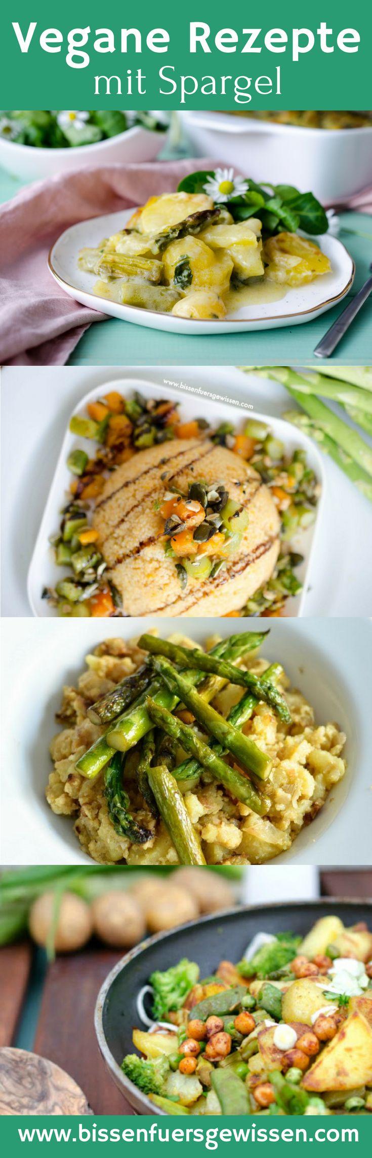 Vegane Rezepte mit Spargel: Gemüsepfanne mit Spargel, Couscous mit Spargel und Süßkartoffel, Polenta-Kartoffel-Pfanne mit Spargel, Spargel-Kartoffel-Auflauf; Frühlingsrezept vegan.