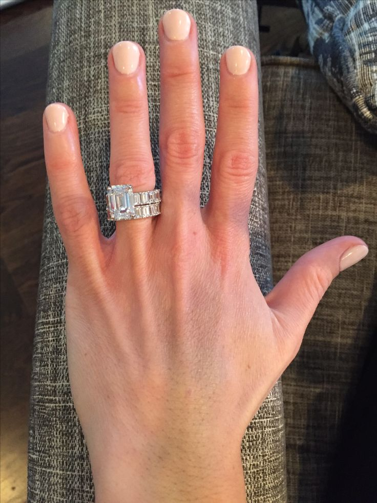 5 carat emerald cut stone with matching double eternity bands