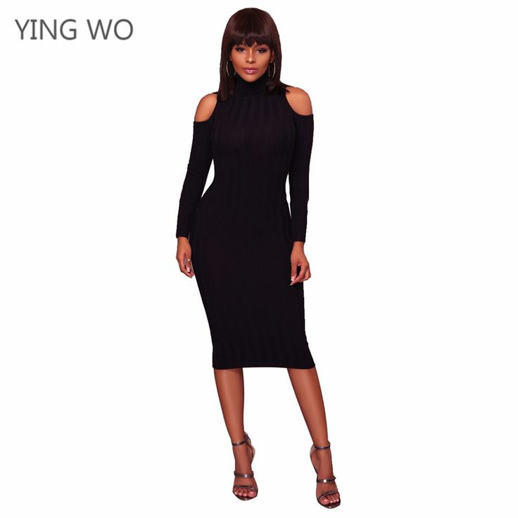 Find More Dresses Information about Black/Wine/Red Sexy Cold Shoulder Turtleneck Long Sleeve Bodycon Dress S XXXL Plus Size Woman Midi Dresses Autumn Winter Fashion,High Quality Dresses from Girls Fashion Collection on Aliexpress.com