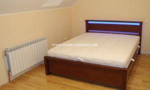 Łóżko drewniane Posejdon 160x200 z pojemnikiem SZKŁO+LED BLUE