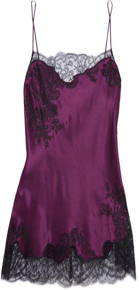 Carine Gilson - Chantilly Lace-trimmed Silk-satin Chemise - Burgundy