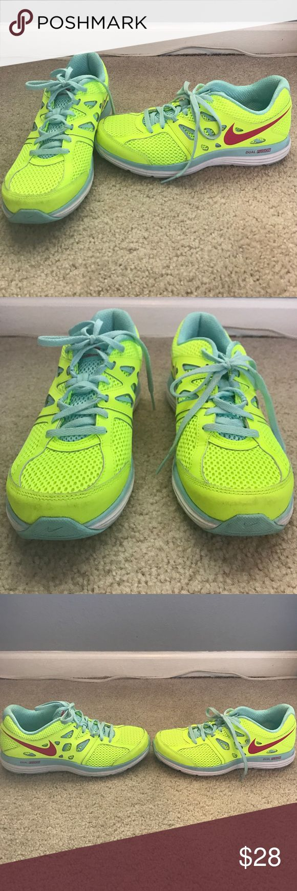 Nike Dual Fusion Shoes. Size 7.5 Nike Dual Fusion shoes. Size 7.5. Only worn a few times. Colors are bright/neon yellow, robins egg blue and pink. Nike Shoes Athletic Shoes