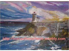"""Sunset at the Lighthouse; Acrylic on Canvas; 24""""H x 30""""W"""