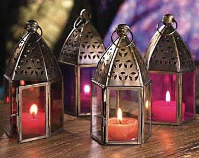Moroccan Hanging Glass Lantern Large Tealight Holder Moroccan Style Lantern Moroccan Lanterns Stained Glass Light In 2020 Lantern Tea Light Holders Indian Theme Lantern Set
