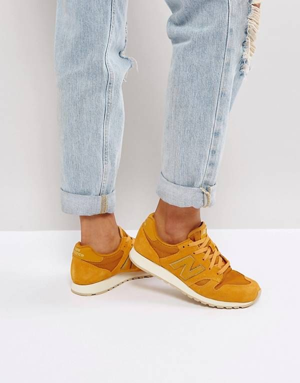 New Balance 520 Mustard Suede Trainers With Metallic Trim