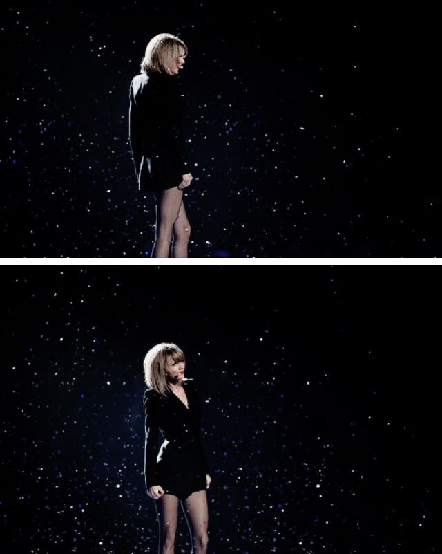 Taylor Swift performs on stage at the BRIT Awards 2015.