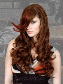 Glitter Long Red Female Wavy Vogue Wigs 22 Inch