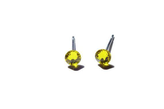 Citrine Swarovski Surgical Steel Stud Earrings Yellow by harmony5, $9.00