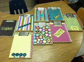 Mod Podge Clipboards!  Quick, easy, and cute.  The kids LOVED them.