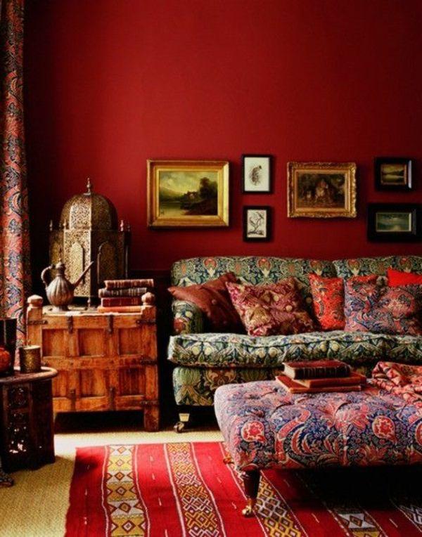 Rote Wandgestaltung Der Wnde Wohnzimmer Gestalten