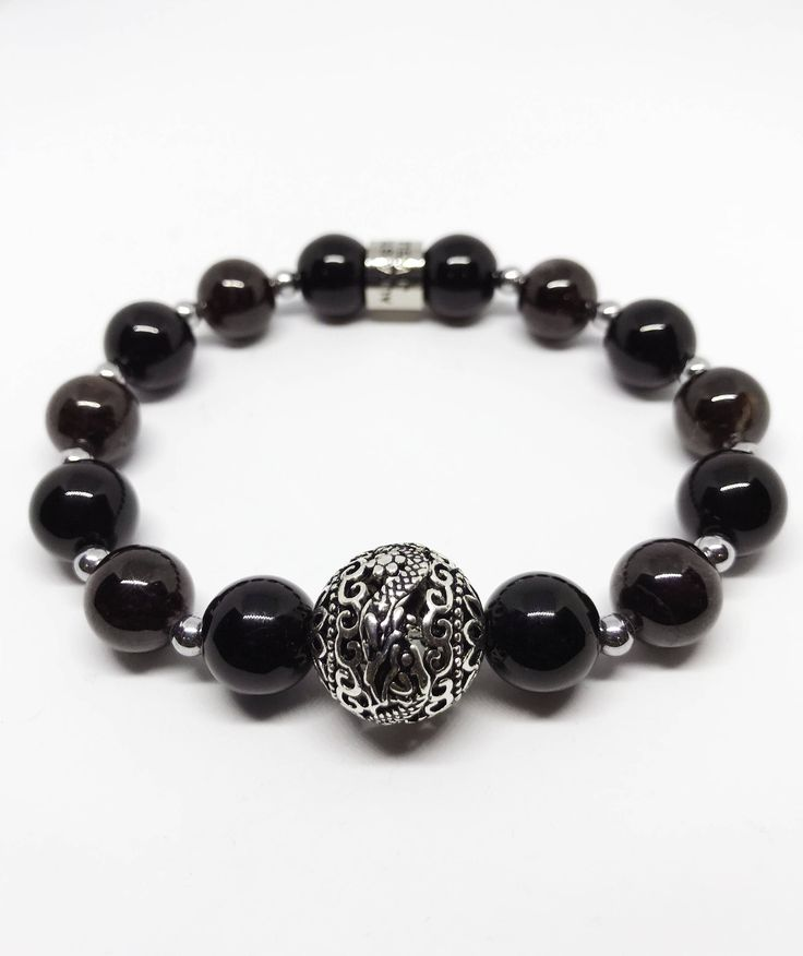 The Success and Good Fortune Sterling Silver Dragon Garnet and Black Agate Bracelet