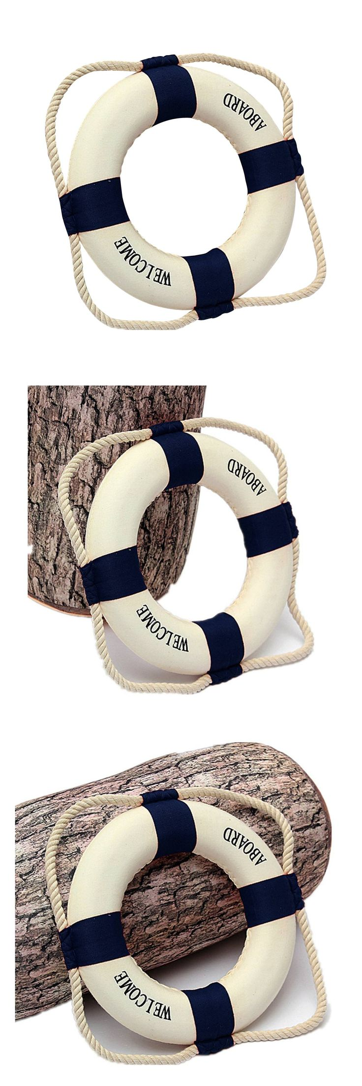 Welcome aboard boat ships life ring clock - Welcome Aboard Foam Nautical Life Lifebuoy Ring Boat Wall Hanging Home Decoration Blue 14cm