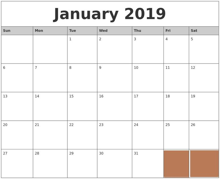 January 2019 Calendar Excel Printable January 2019 Printable