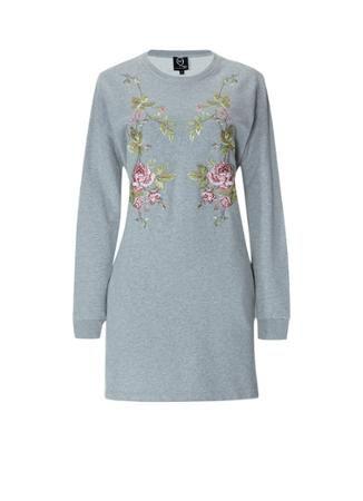McQ Alexander McQueen Sweater dress met geborduurde bloemen • de Bijenkorf