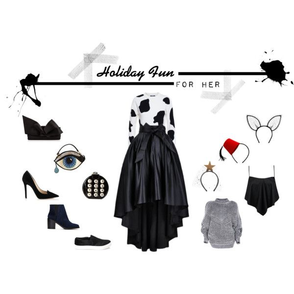 Holiday Fun For Her by tweewu on Polyvore featuring Moschino, Boohoo, Jimmy Choo, Shellys, Forever 21, Christian Louboutin, Betsey Johnson, Maison Michel and Piers Atkinson