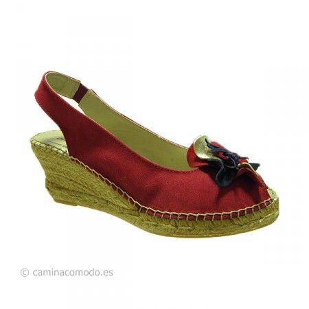 Sandalia esparto rojo