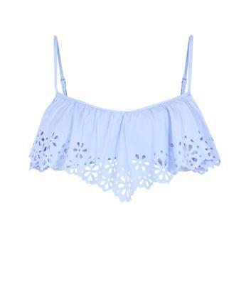 Lilac Cutwork Frill Bandeau Bikini Top New Look £14.99