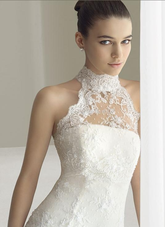 2011 High Collar Lace Tulle Chapel aire barselona Bridal Gown Wedding dresses on TradeTang.com
