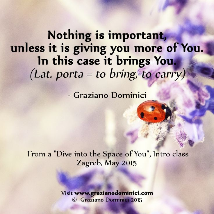 Nothing is important, unless it is giving you more of You. In this case it brings You. (Lat. porta = to bring, to carry) - © 2015  Graziano Dominici