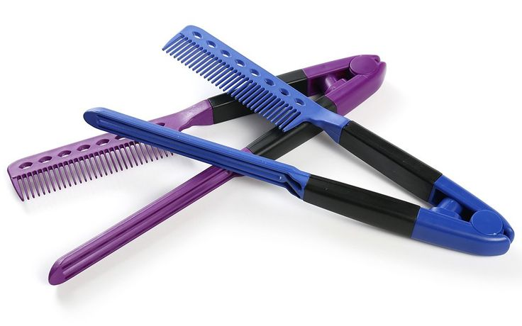 Amazon.com : OneDor Professional Hair Salon Vented Straightening & Cutting Comb Naturals Flat Iron Chase Comb, 2 Pack (Blue & Purple) : Beauty