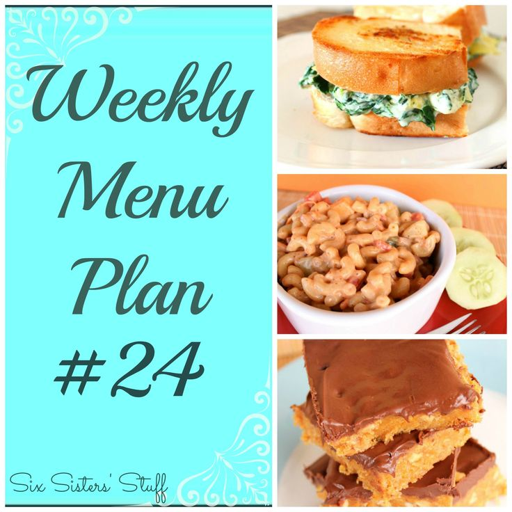 weekly menu plans from six sisters stuff