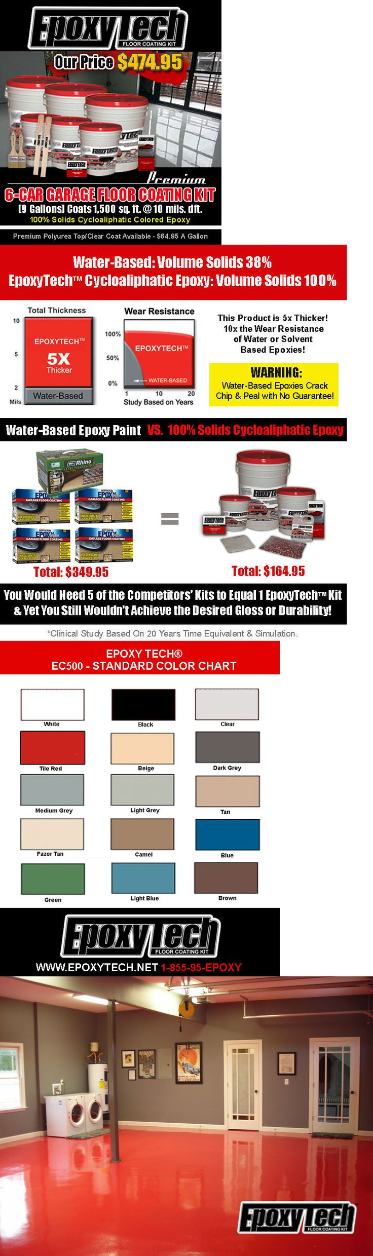 Paint 180164: 100% Solids Epoxy Garage Floor Coating Paint Kit (9 Gals-1500 Sf) All Colors! -> BUY IT NOW ONLY: $474.95 on eBay!