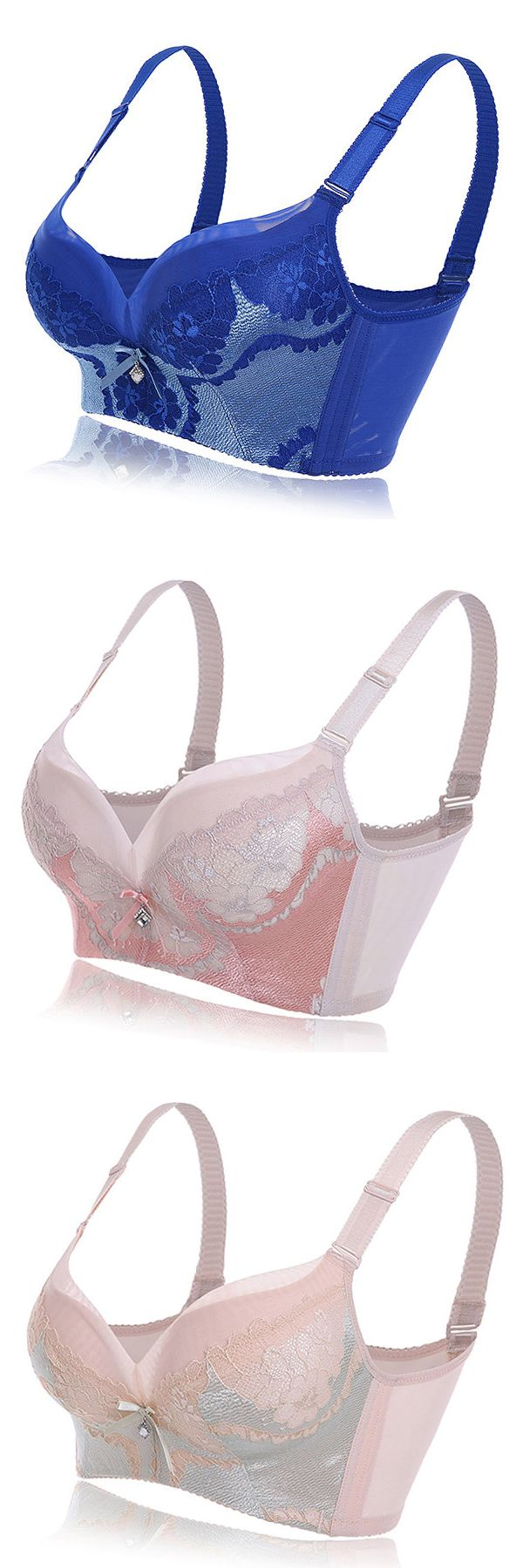 Sexy Wireless Plunge Push Up Embroidered Gather Adjustable Bras