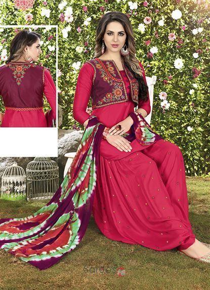 Rani Festival Wear Cotton Embroidery Work Punjabi Patiala Suit With Shrug 71492  #fashion #clothing #salwarsuit #salwarkameez #ethnic #ethnicwear