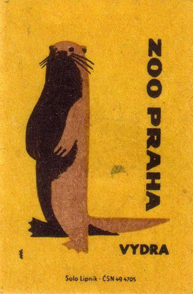 prague zoo. 1963. czechoslovakia. matchbox label. print. ephemera. [2948]