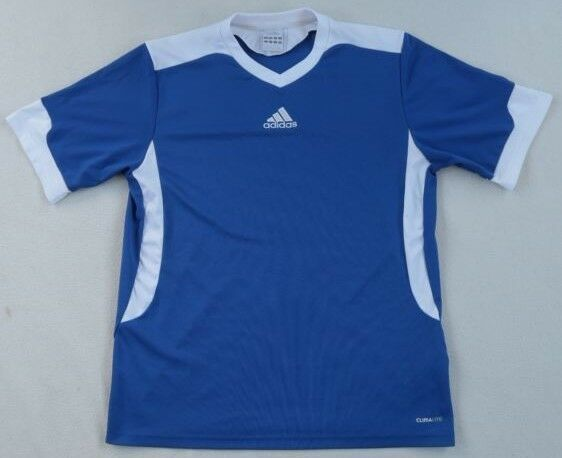 the best attitude 34126 b0ec9 Adidas Boys Polyester Clima Lite S S V-Neck Blue   White Soccer Shirt
