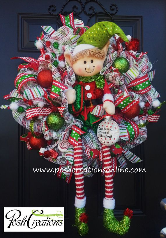 Elf Wreath Christmas Decor Whimsical Elf Wreath by PoshcreationsKY