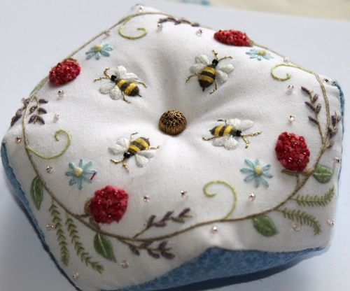 Bee and Berry Biscornu by flossbox! Super cute! She sewed this together by hand.