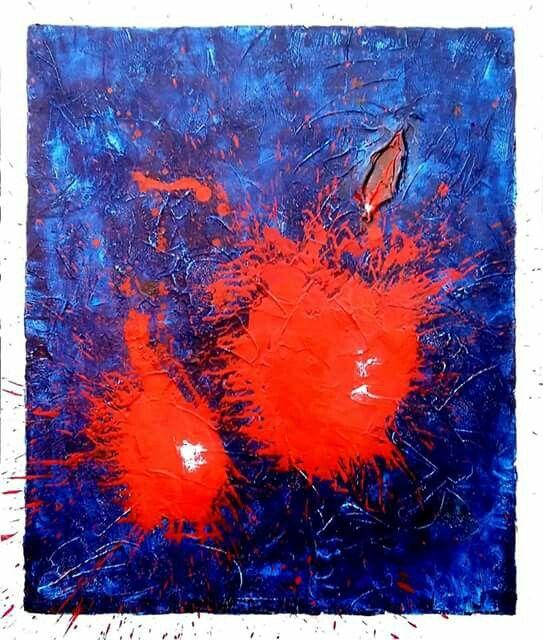 """""""Untitled XXIV"""" cemento colorato e acrilico su tela, cm 100x120, 2015"""