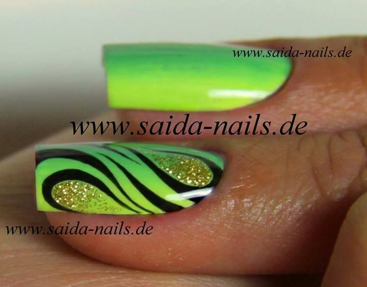 Saida Nails - Neon Green Zebra Ombre with Glitter Nail Art