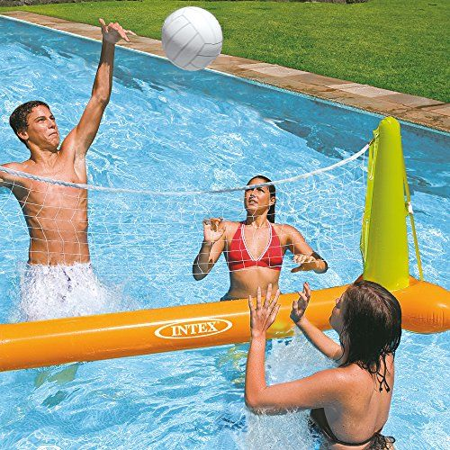 Pool volleyball game for or ages 3 years and up. Includes: -Anchor bags included to hold floating net in position, inflatable volleyball and floating net, Repair patch. Inflated dimensions: 25″ H x 94″ W x 26″ D.-Package dimensions: 8.94″ H x 8″ W x 3.19″ D.  Made from sturdy 10-gauge vinyl with a 7-gauge vinyl ball.    toys4mykids.com