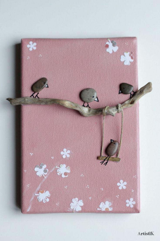 Tableau galets oiseaux bois flotté fond rose saum…