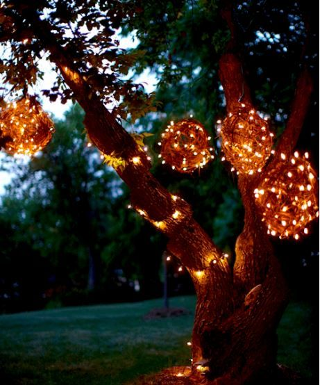 Wrap wicker balls in string lights for an outdoor night light. #lightingdesign