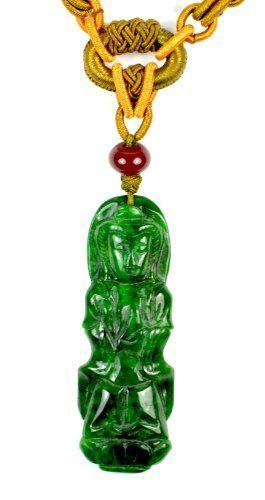 Mercy Yin Buddha auf Lotus Chinese Jadeit Jade Halskette, geschnitzte Jade Anhänger 64x22x6 mm, handgeknüpfte Einstellbare Cord 60-72 cm - Fortune-Feng Shui Jade Schmuck von Celestial Jewelry & Fortune Beauty, http://www.amazon.de/dp/B00EL78Q2C/ref=cm_sw_r_pi_dp_w7.esb1YA84BS