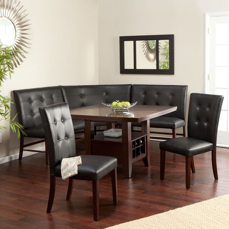 6 Kitchen Espresso Black Dining Set Faux Leather Wood Corner Nook Table  Bench #KITCHENNOOK Part 42