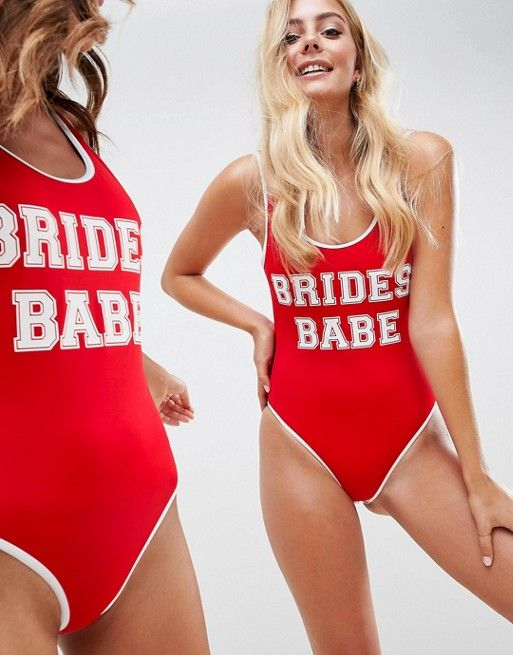 5c81eaf7d70 DESIGN recycled brides babe slogan swimsuit with contrast bind in red