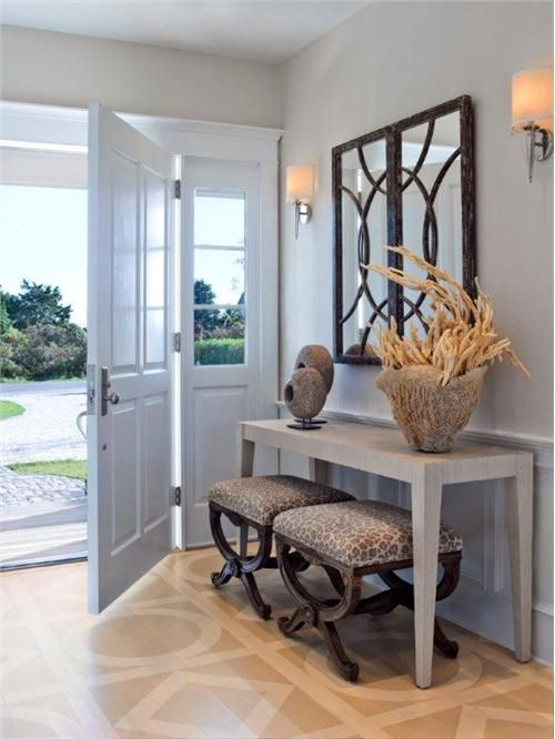 Transitional (Eclectic) Foyer by Kathleen Hay.  I like the stools and the wall mirror.