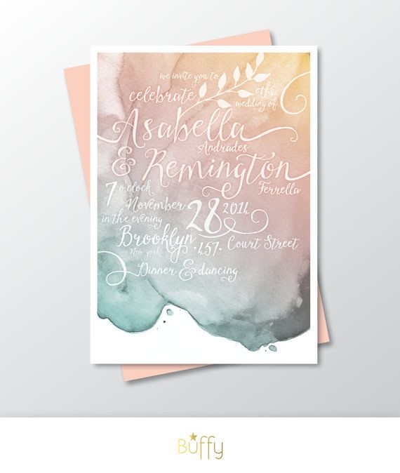 Calligraphy & Watercolor Wedding Invitation . Gold Pink and Teal Blush Custom Personalized . Modern Beach Wedding . Outside Wedding . PDF
