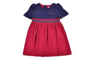 Vestido para niña, en colores azul y rojo oscuro.