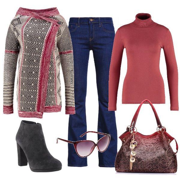Un classico che non passa mai di moda: il jeans a zampa d'elefante. Lo troviamo qui abbinato ad uno dei colori di questa stagione, il rosa dusty cedar, che, attraverso varie sfumature, si mixa con il grigio e con le fantasie geometriche del cardigan. Nella borsa sfuma ancora una volta fino a diventare bordeaux come gli occhiali da sole.