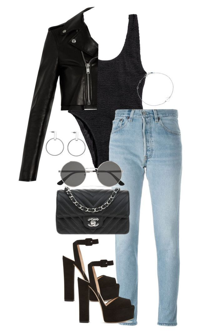 """Untitled #4213"" by theeuropeancloset ❤ liked on Polyvore featuring H&M, RE/DONE, Giuseppe Zanotti, Chanel, Yves Saint Laurent and Astley Clarke"