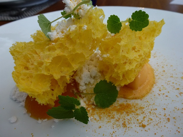 Sea buckthorn, anise hyssop, liquorice and butternut by Chef Simon Rogan