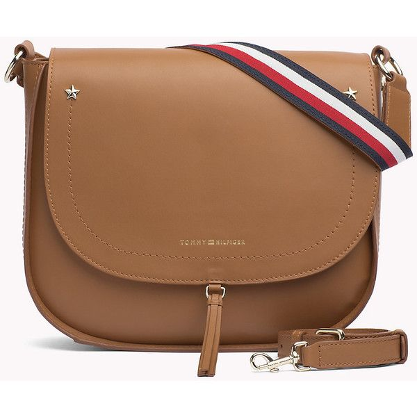 Leather Saddle Bag TOMMY HILFIGER ❤ liked on Polyvore featuring bags, handbags, shoulder bags, leather purse, leather saddle bags, leather saddle bag purse, brown shoulder bag and leather handbags