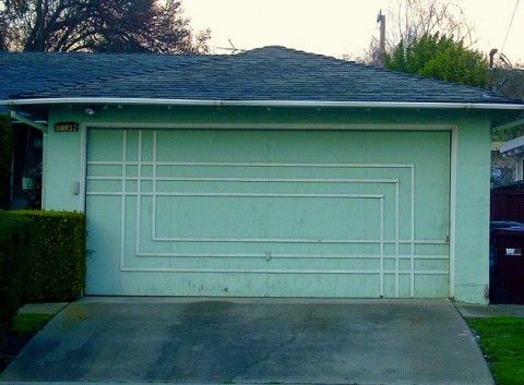 The Midcentury Garage Door: Interesting Doors, Garage Door2, Garage Doors, Midcentury Garage, Mid Century Garage, Century Doors, Garage Shops Ideas, Cool Garage, Garage Ideas