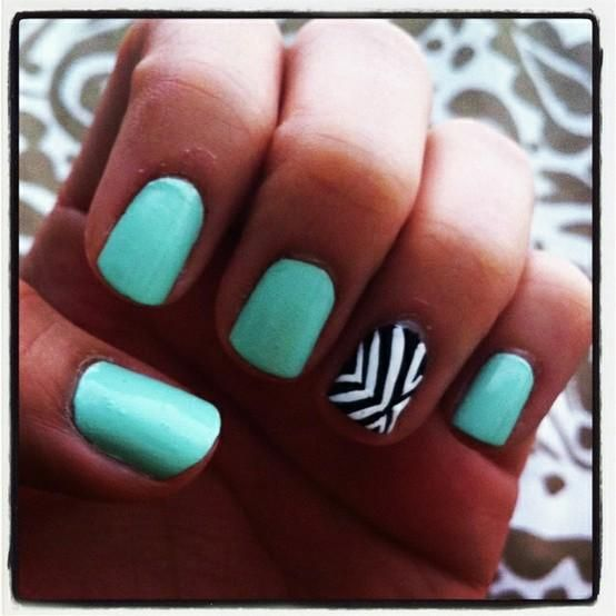 <3: Nails Art, Accent Nails, Nails Design, Black And White, Tiffany Blue, Summer Nails, Black White, Nails Polish, Nails Idea