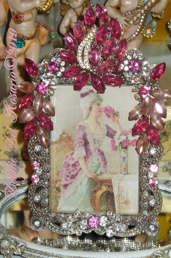 Pretty In Pink Jeweled Frame By Debbie Pink Rose Shabby